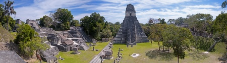 Panoramic image of the the Mayan ruins of Tikal in Guatemala. Stock Photo