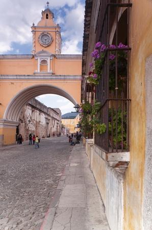 strret: Arco de Santa Catalina in Antigua, Guatemala, February 27 2011. Antigua was designated a Unesco World Heritage site in 1979.