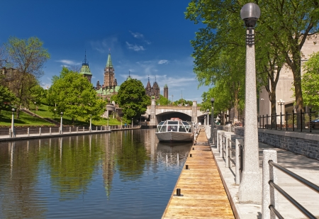 canals: The Rideau Canal and Parliament Hill in Ottawa, Canada.