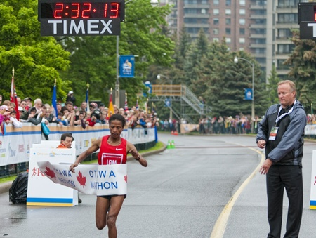 haile: The 2011 Ottawa Marathon, May 29 2011, Ottawa, Canada. Kebebush Haile Lema was the winner of the womens 2011 Ottawa Marathon in 2:32:14.0
