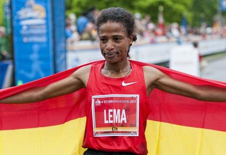 The 2011 Ottawa Marathon, May 29 2011, Ottawa, Canada. Kebebush Haile Lema was the winner of the womens 2011 Ottawa Marathon in 2:32:14.0