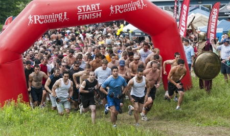 Unidentified competitors during the first Ottawa Spartan Sprint Race, July 3 2011, Ottawa, Canada. Stock Photo - 9880691