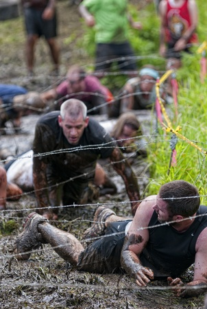 Unidentified competitors during the first Ottawa Spartan Sprint Race, July 3 2011, Ottawa, Canada. Stock Photo - 9880679
