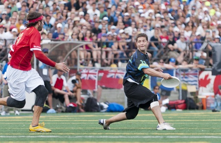 Unidentified players during the 2011 Canadian Ultimate Championship Open Final between GOAT and Furious George. Ottawa, Canada, August 14th 2011. Editorial