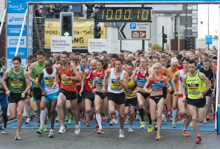 Start of the 2011 Buba Great Yorkshire 10km run in Sheffield, October 9th 2011. Editorial