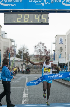 Micaah Kogo winner of the 2011 Buba Great Yorkshire 10km run in Sheffield, October 9th 2011. Stock Photo - 11241089