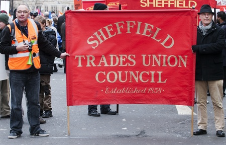 public sector: Public sector workers march through the City of Sheffield to protest against pension changes proposed by the government in the UK. Sheffield, November 30 2011.