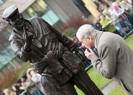 prince charles of england: HRH The Prince of Wales met former cricket umpire Dickie Bird at the Dickie Bird commemorative statue during his visit to Barnsley, England on Tuesday 24th January 2012. Editorial