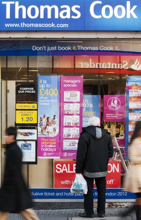 sheffield: Holiday offers cover the window of Thomas Cook in Sheffield to try and entice holiday makers. Thomas Cook are currently in talks with banks to increase its borrowings after reporting