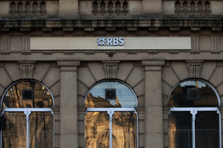 SHEFFIELD - Janruary 12: The UK Government owns 83 per cent of RBS but remains a public company run by an independent board of directors and subsequently bonuses are governed by it's own private board members. Sheffield, England, Janurary 26 2012.