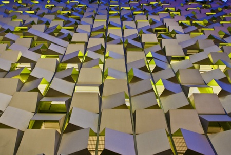 The distinctive �16 million car park in Sheffield, England. The facade is made up of reflective aluminium plates with 550 spaces. Janruary 31 2012.