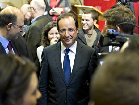 The French Socialist presidential candidate François Hollande speaking to students at Kings College, London, February 29 2012. (c) Steve Kingsman - 447513-095370  info@stevekingsman.com Editorial