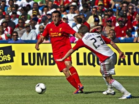 Liverpool's Spanish full-back Jose Enrique during Liverpool's first pre-season match of their North American tour against Toronto FC at the Rogers Centre in Toronto, Canada, July 21 2012.