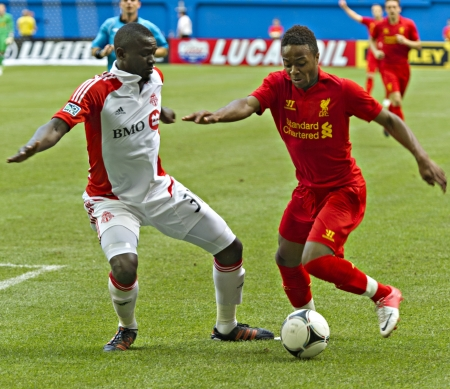 winger: Promising young winger Raheem Sterling (right) during Liverpools first pre-season match of their North American tour against Toronto FC at the Rogers Centre in Toronto, Canada, July 21 2012.