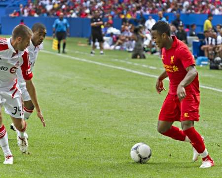 winger: Promising young winger Raheem Sterling Liverpools first pre-season match of their North American tour against Toronto FC at the Rogers Centre in Toronto, Canada, July 21 2012.
