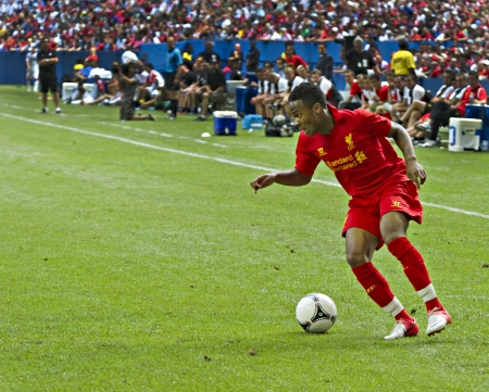 Promising young winger Raheem Sterling Liverpools first pre-season match of their North American tour against Toronto FC at the Rogers Centre in Toronto, Canada, July 21 2012.