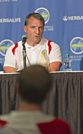 Liverpool FC press conference with manager Brendan Rodgers prior to Liverpool FC training session at the Rogers Centre in Toronto, Canada, July 20 2012.