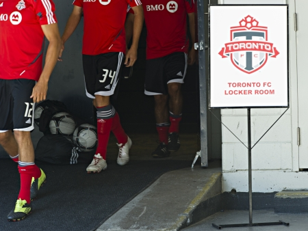Toronto FC players take to the field for their training session prior to the friendly match against Liverpool at the Rogers Centre in Toronto, Canada, July 20 2012.