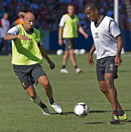 Jonjo Shelvey (left) and Andre Wisdom (right) during Liverpool FC training session prior to Liverpool's first pre-season match of their North American tour against Toronto FC at the Rogers Centre in Toronto, Canada, July 20 2012.