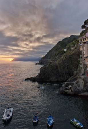 13th century: Sunset over the 13th Century village of Riomaggiore in Cinque Terre, Italy.