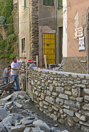 Repairs to the Cinque Terre village of Vernazza after the floods of 2011 that caused more then 100 million euros in damages. Vernazza May 12 2012.