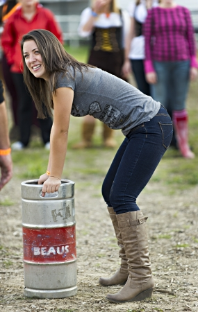 hot pants: The womens keg toss (distance) competition at the Beaus forth annual Oktoberfest held at Vankleek Hill fairgrounds over three days from Friday September 28 until Sunday September 30. Around 15,000 people expected over the three day event.  Editorial