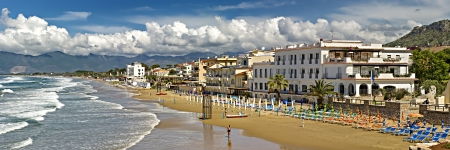 outpost: The beautiful sandy beach of Sperlonga in Italy.