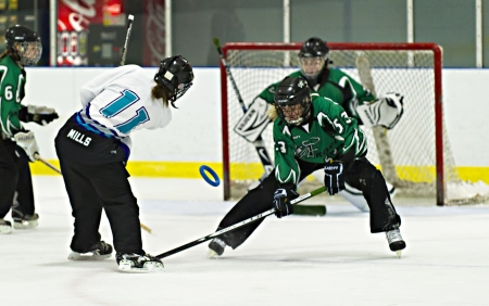 Ottawa's Nicole Mills (left) shoots for goal during the Ottawa Belle under 19's 7-4 victory against Bonvital of Manitonba at the Sandy Hill Arena in Ottawa, December 1 2012.