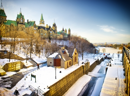 ottawa: The Rideau Canal in Ottawa, Canada during winter.