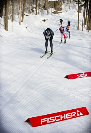 canmore: Philip Widmer (front) from the Canmore Nordic ski club competes in the mens 1.6km classic sprint event during the Haywood NorAm Eastern Canadians Championships at the Nakkertok Nordic Centre in Cantley, Quebec on February 1st 2013. Philip won the Mens A F