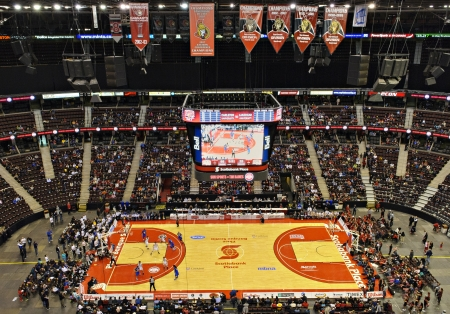 OTTAWA - MARCH 10: The Carleton Ravens and the Lakehead Thunderwolves compete in the final of the 2013 Mens CIS Basketball Final 8 Championship at Scotiabank Place, Ottawa on March 10 2013. The Ravens won 92-42 to claim their record ninth championship.