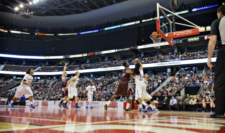 OTTAWA - MARCH 9: Lakehead Thunderwolves and the Ottawa Gee-Gees battle it out for a place in the final of the 2013 Mens CIS basketball Finals at Scotiabank Place, Ottawa on March 9 2013.