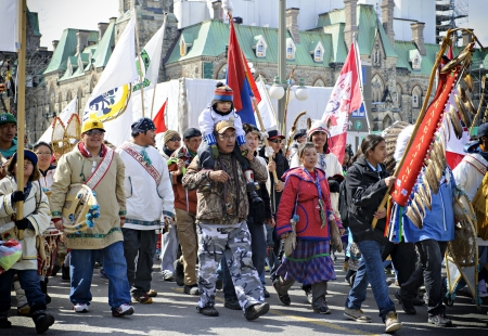 cree: The Nishiyuu walkers, a group of young people from the James Bay Cree community of Whapmagoostui, Quebec has arrived at Parliament Hill in Ottawa, ending a 1,600-kilometre trek meant to bring attention to aboriginal issues. Ottawa, March 25 2013. Editorial