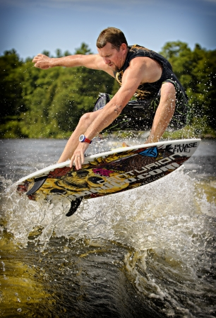 competes: Drew Danielo competes in the 1st annual Calabogie Wake Surf Championship held on Calabogie Lake, Ontario, Canada on July 12 2013. Drew finished 2nd in both the Pro Mens Skim and Surf competitions.