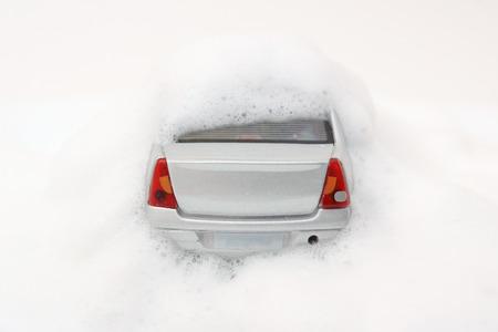 Speelgoed auto in Foam Stockfoto