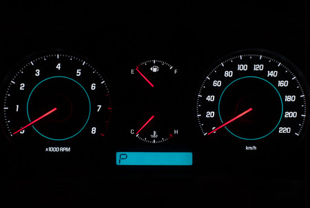telltale: Dashboard of high class vehicle with gauges in zero position