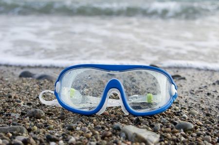 elastic band: Blue swimming glasses with elastic band