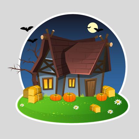 Illustration of night Halloween house