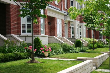 A row of townhouses photo
