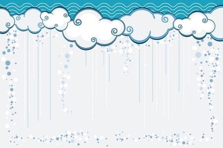 Vector illustration with clouds and rain