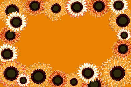 Illustration of sunflowers on an orange background  Ilustrace