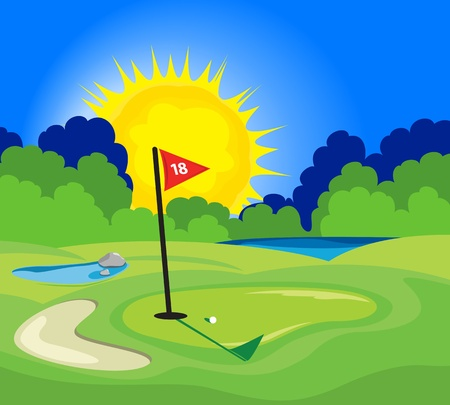An illustration of the 18th hole on a golf course Vectores