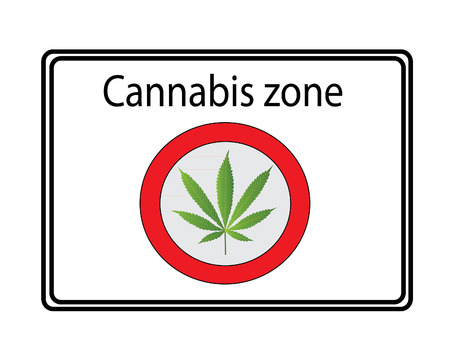 cannabis sativa: Cannabis zone sign - white