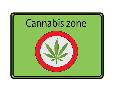 cannabis sativa: Cannabis zone  sign - green