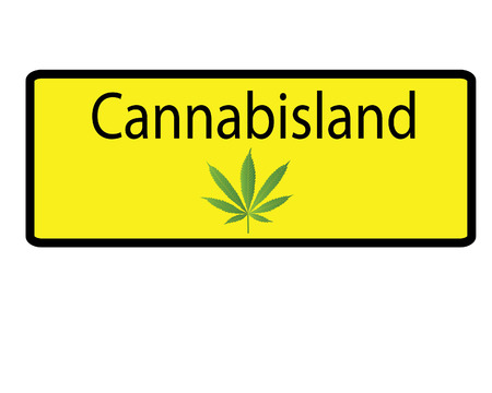 cannabis sativa: Yellow cannabisland sign Illustration