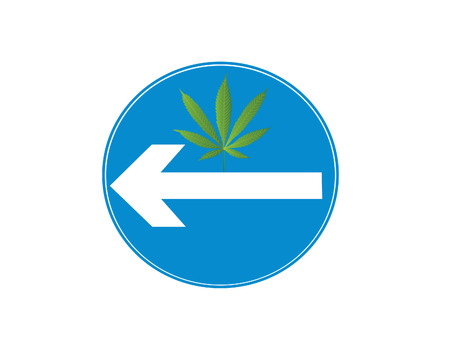 cannabis sativa: Blue cannabis sign with arrow Illustration