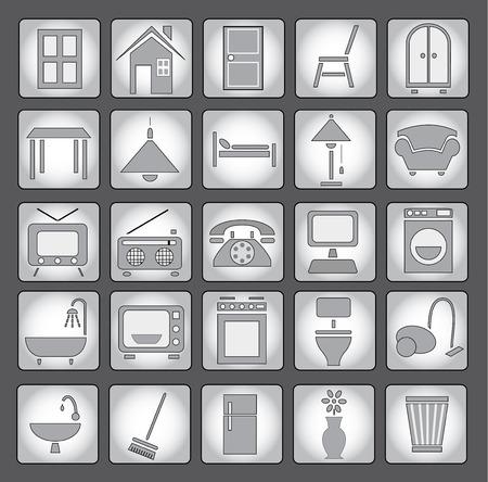 vacuuming: Common house appliances - grey icon set