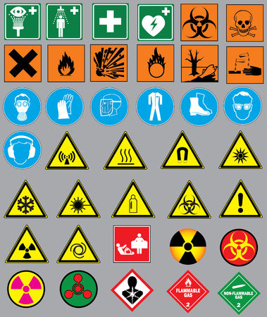 38 warning signs and labels Vector