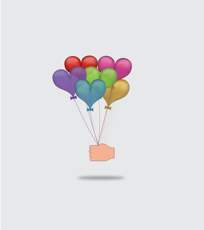 Hand holding balloons as a gift Vector