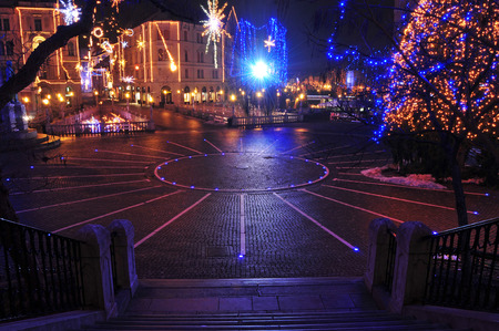 Preseren square,decorated for Christmas and New Years holidays, Ljubljana, Slovenia